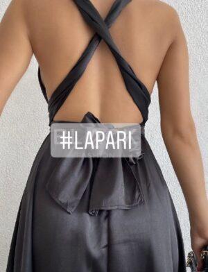 Σατινέ πολυμορφικό φόρεμα μαύρο 699Β