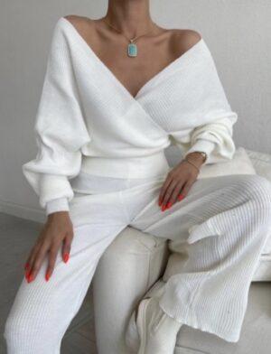 Σετ τοπ με παντελόνι λευκό 700