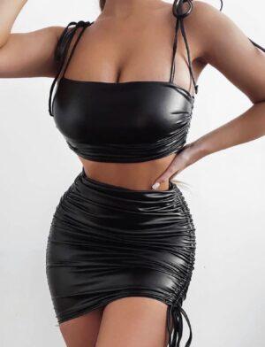 Σετ τοπ και φούστα μαύρο 714